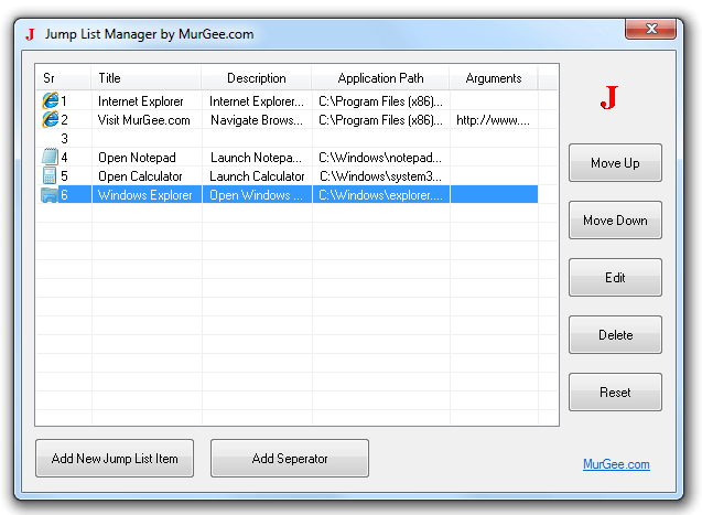 Manage Jump List on Windows 7