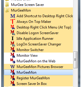 Screenshot displaying programs menu of MurGeeMon on Windows 7