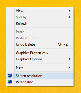 Launch Screen Resolution from Desktop Right Click