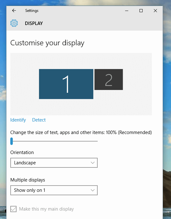 Display Settings with Dual Monitors on a Windows 10 Computer