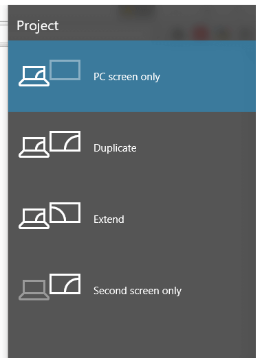 Windows Key and P Keyboard Shortcut to Control Dual or Multiple Monitors on a Windows 10 Computer